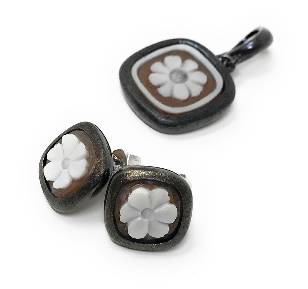 Sterling Silver Cameo Earrings and Pendant Set