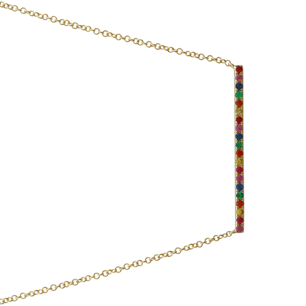 "14k Yellow Gold Rainbow Sapphire Bar Pendant Necklace (1/5 cttw), 16+2"" Extender"