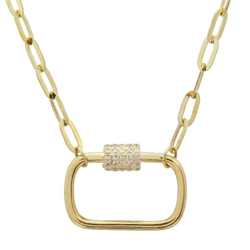 14k Yellow Gold Diamond Screw Clasp Link Chunky Chain Floating Pendant Necklace (1/10 carat), 15-17""