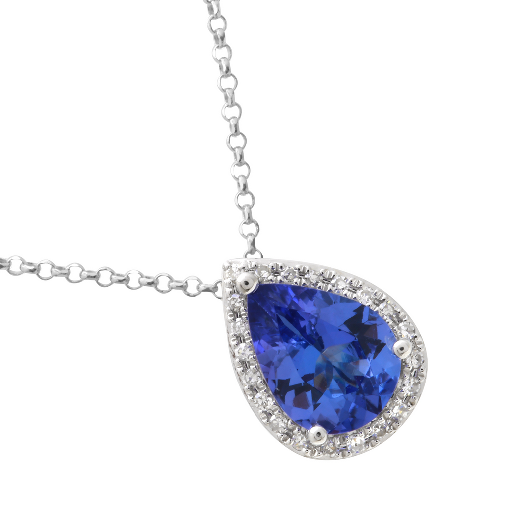 14k White Gold Diamond Tanzanite Pear Drop Pendant Necklace (0.07 cttw, I-J Color, I2-I3 Clarity), 16""