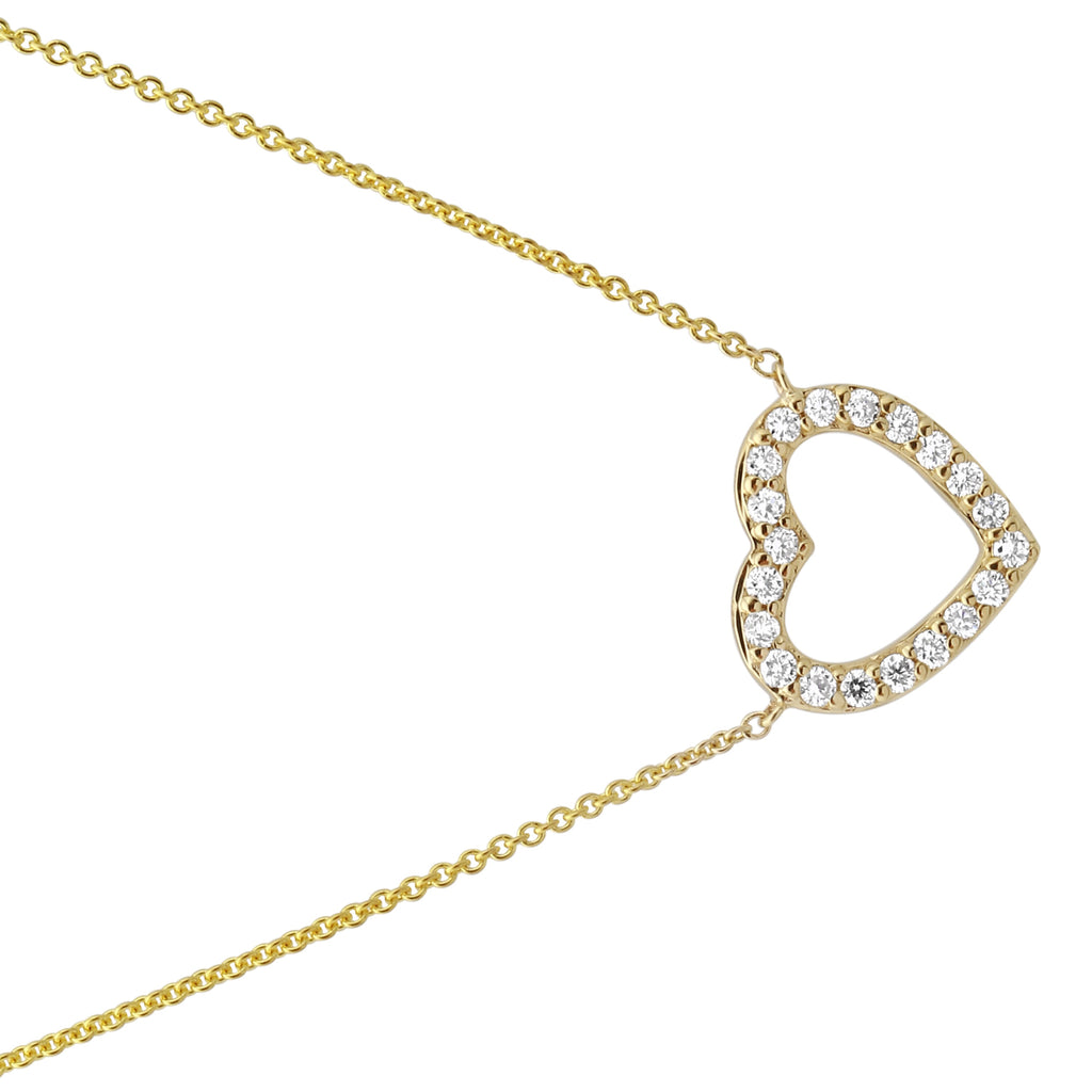 "14k Yellow Gold Diamond Pave Open Heart Pendant Necklace (1/5 cttw, J-K Color, SI2-I1 Clarity), 16+2"" Extender"