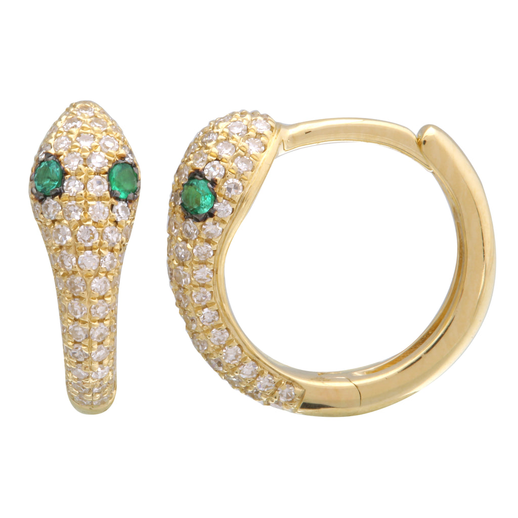 14k Yellow Gold Diamond Tsavorite Snake Hoop Earrings (1/3 cttw, H-I Color, I1-I2 Clarity), 9mm Diameter