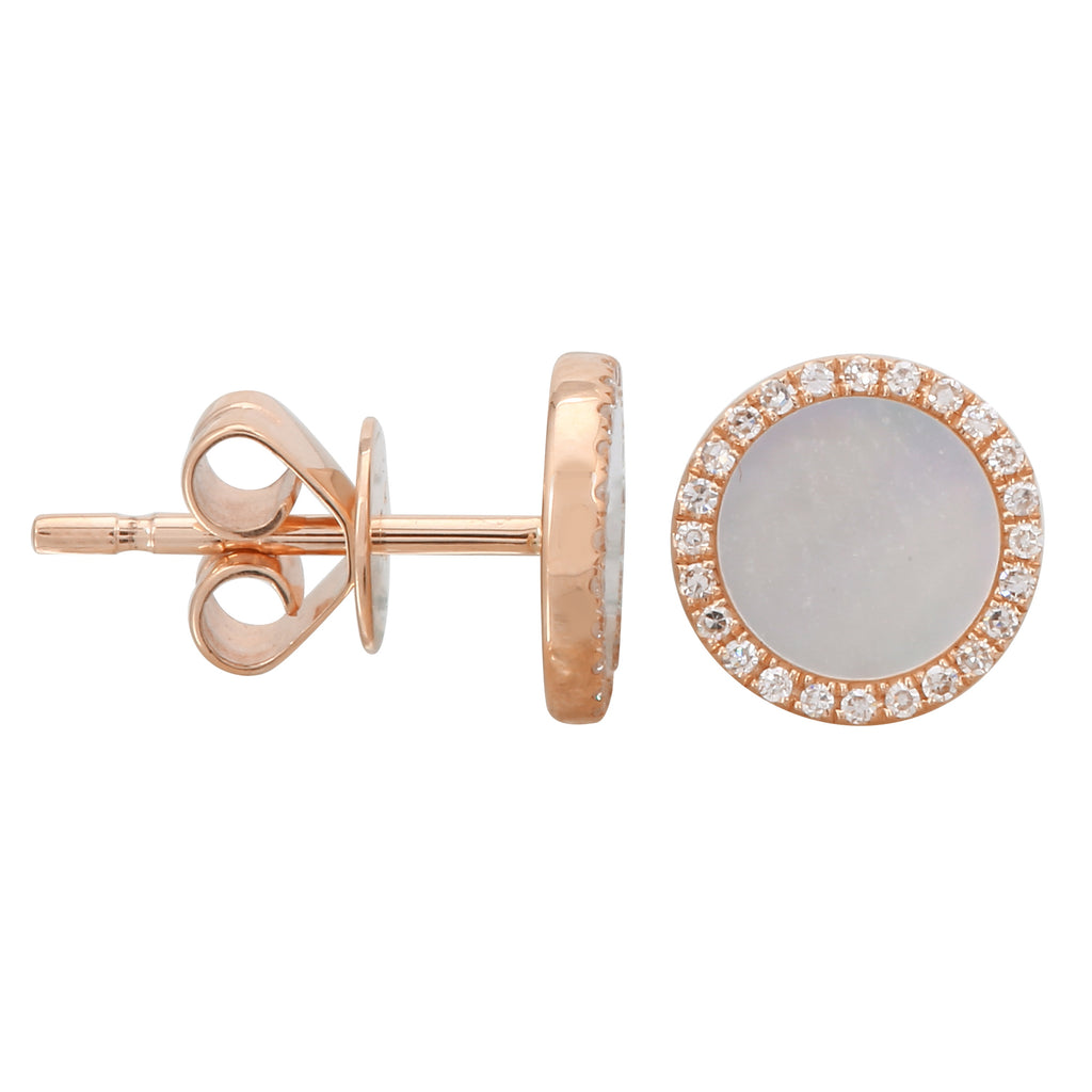 14k Rose Gold Diamond Mop Big Halo Stud Earrings (1/10 cttw, H-I Color, I2-I3 Clarity)