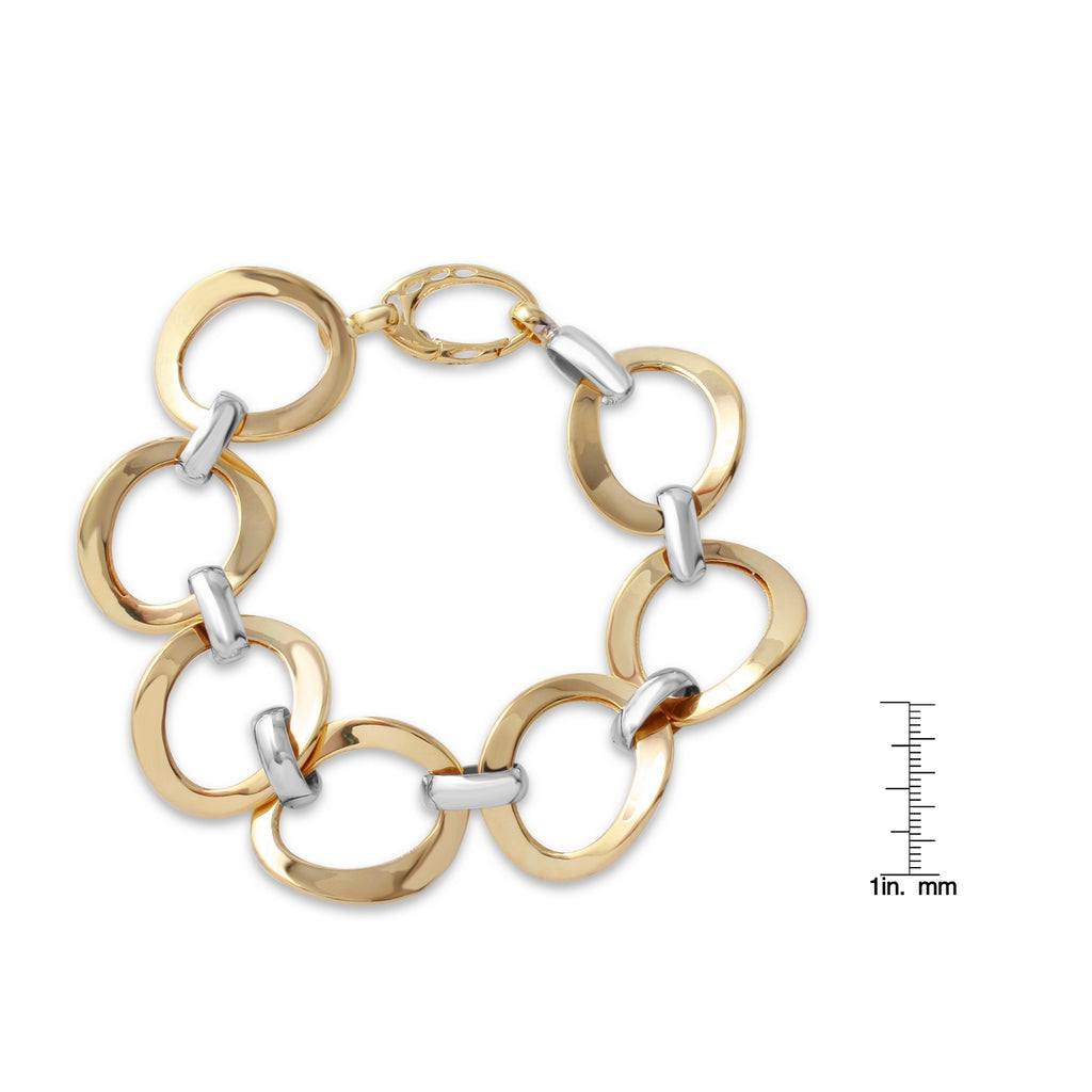 14k Two-Tone Gold High Shine Circle Link Bracelet, 7.5""