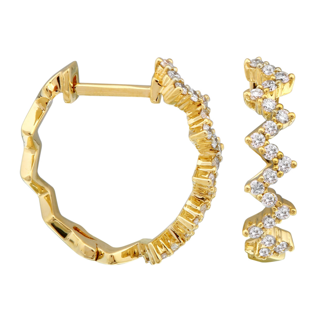 14k Yellow Gold Diamond Zigzag Hoop Earrings (1/4 cttw, H-I Color, I1-I2 Clarity) 14mm Diameter