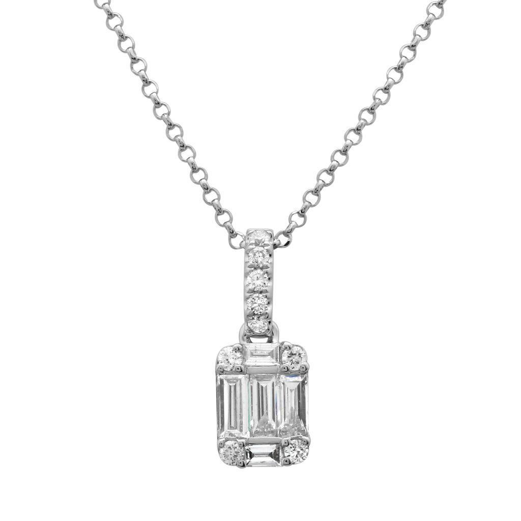"14k White Gold Baguette Round Diamond Square Pendant Necklace (1/4 cttw, H-I Color, I1-I2 Clarity), 16+2"" Extender"