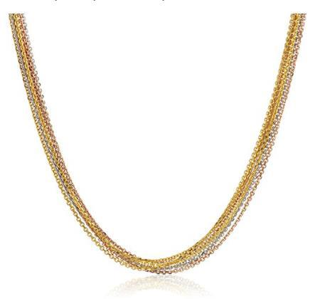 14k Tri-Color Gold Italian Strand Multi-Chain Necklace, 18""