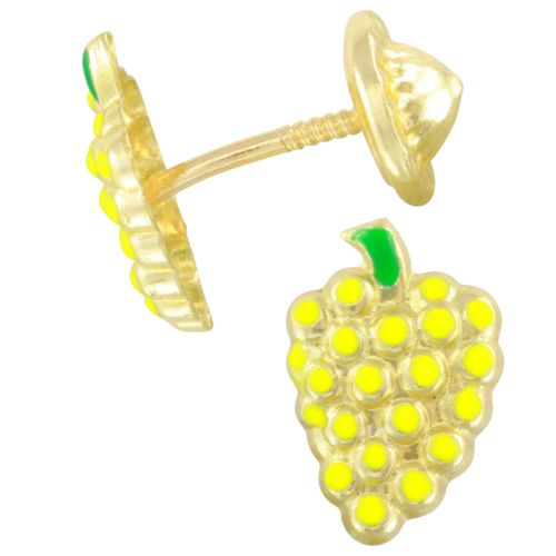 14k Yellow Gold Yellow Citrus Cluster Baby Stud Earrings, Screw Backs
