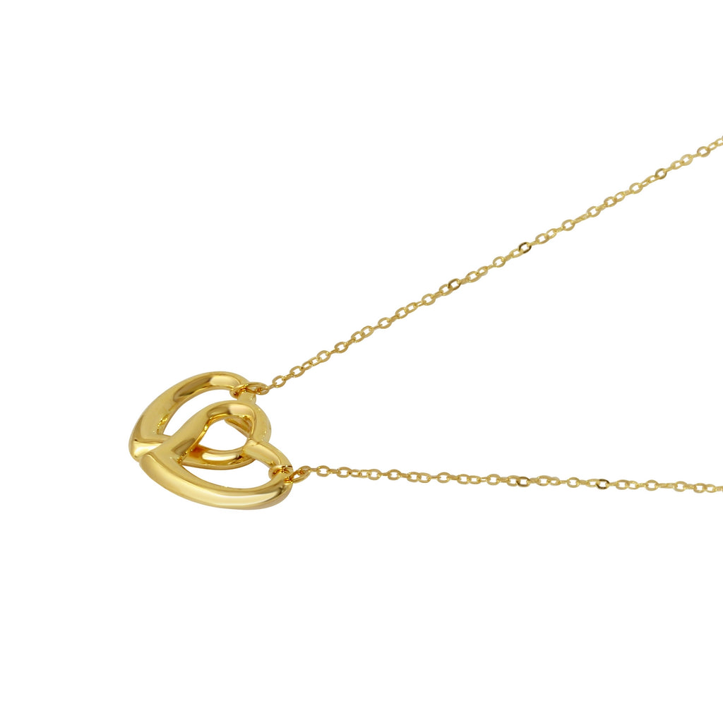 14k Yellow Gold Suspended Two-of-Hearts Pendant Necklace, 17""