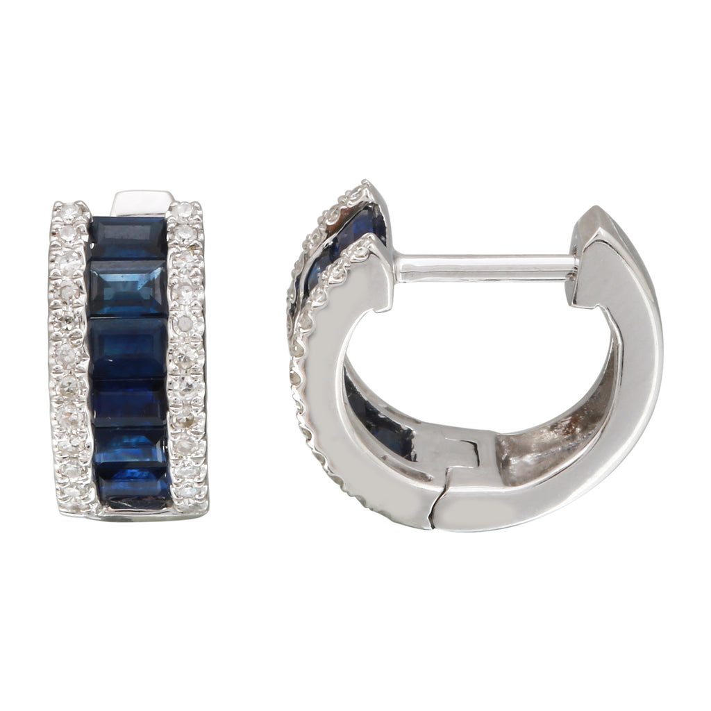 14k White Gold Diamond Channel Sapphire Wide Huggie Hoop Earrings (1/5 cttw), 9.5mm Diameter