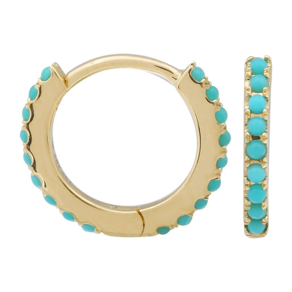 14k Yellow Gold Turquoise Beaded Eternity Huggie Hoop Earrings (1/8 cttw), 8.15mm Diameter