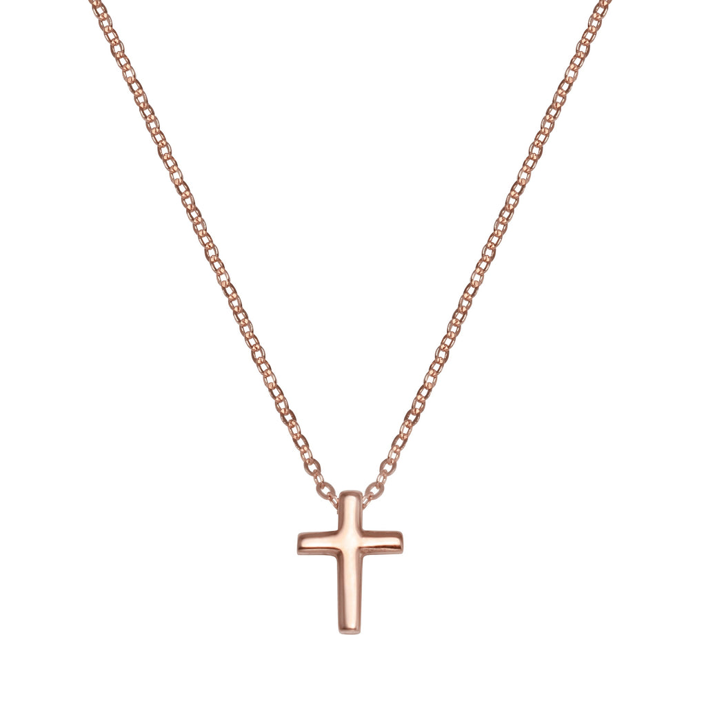 "14k Gold Cross Crucifix Pendant Necklace, 18"" - Bee Jewels"