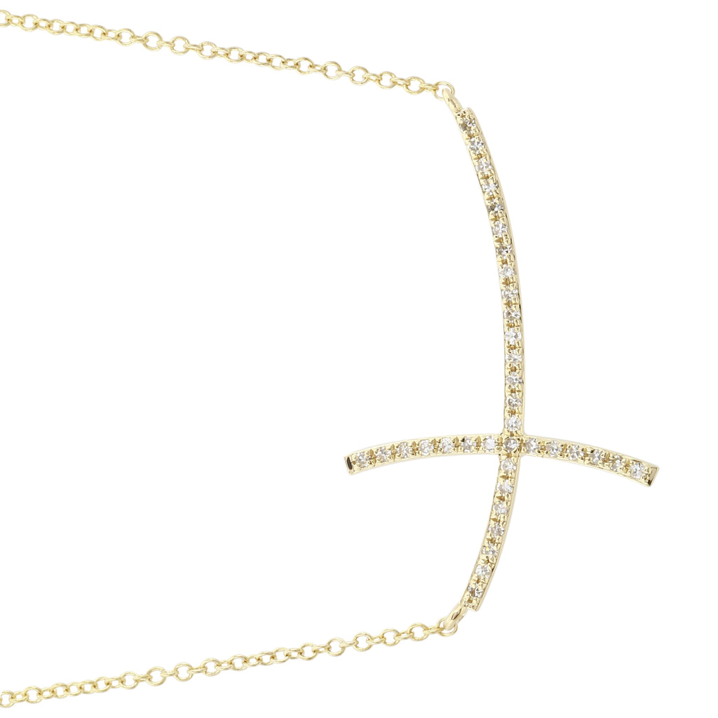 """Remark"" 14k Yellow Gold Diamond Pave Sideways Cross Pendant Necklace (1/10 cttw, H-I Color; I1-I2 Clarity), 16+2"" Extender"