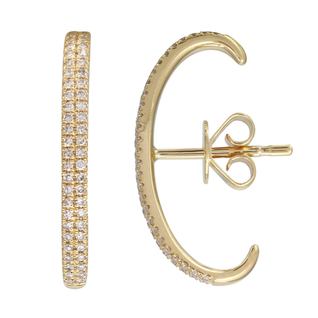 14k Yellow Gold Diamond Long Huggie Single Stud Earring (1/8 cttw, I-J Color, I2-I3 Clarity)