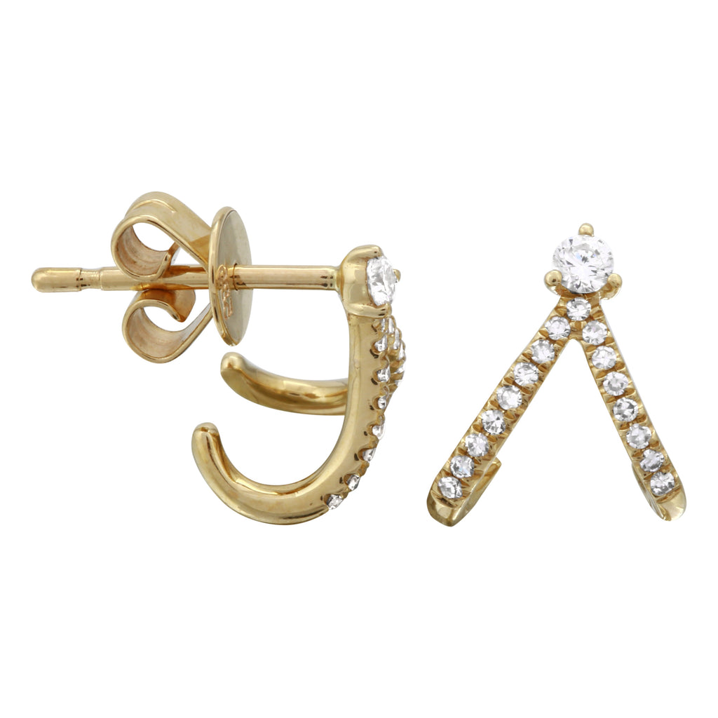 14k Yellow Gold Diamond Wishbone Cuff Stud Earrings (1/5 cttw, H-I Color, I2-I3 Clarity)