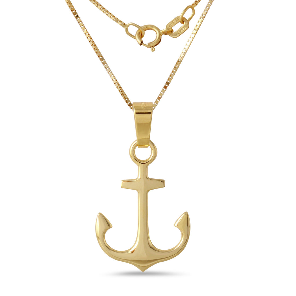 Men's 14k Yellow Gold Italian Anchor Charm Pendant Necklace, 18""