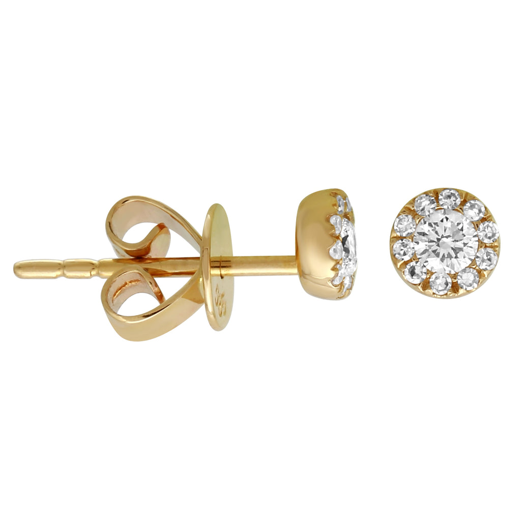 14k Yellow Gold Diamond Mini Halo Stud Earrings (1/5 cttw, H-I Color, I2-I3 Clarity)