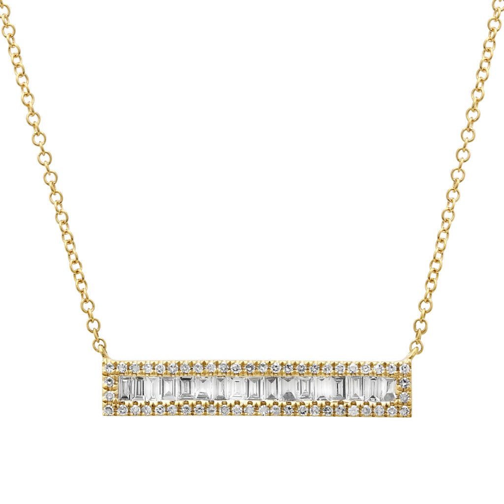 14k Yellow Gold Diamond Baguette Accent Bar Pendant Necklace (3/8 cttw), 16+2""