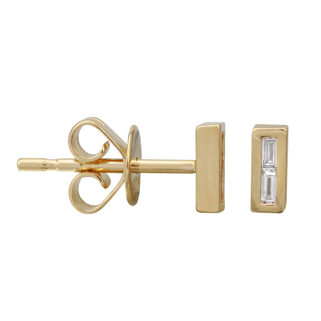 14k Yellow Gold Diamond Baguette Floating Bar Stud Earrings (1/20 cttw)