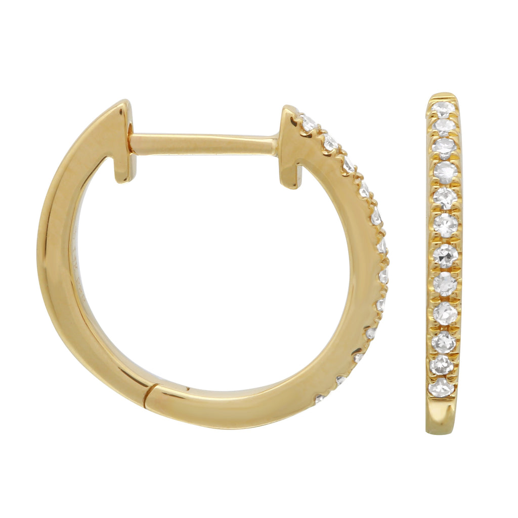 14k Yellow Gold Diamond Pave Hoop Earrings (0.08 cttw, H-I Color, I1-I2 Clarity), 12.5mm Diameter