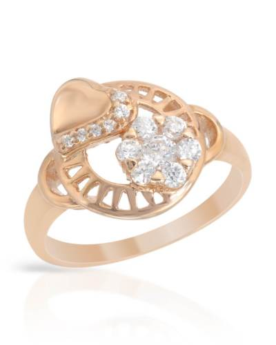 925 Designer Cocktail Ring rose gold CZ