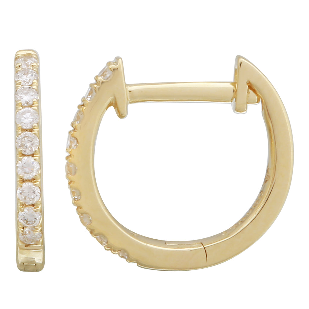 14k Yellow Gold Diamond Accent Floating Hoop Earrings (1/8 cttw)