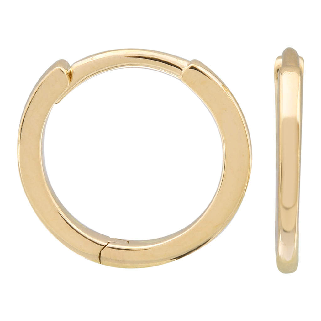 14k Yellow Gold Smooth Hoop Earrings, 11mm Diameter