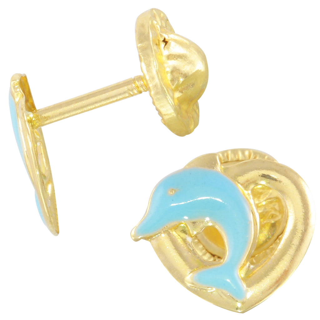 14k Yellow Gold Blue Dolphin Baby Screw-Back Stud Earrings - Bee Jewels