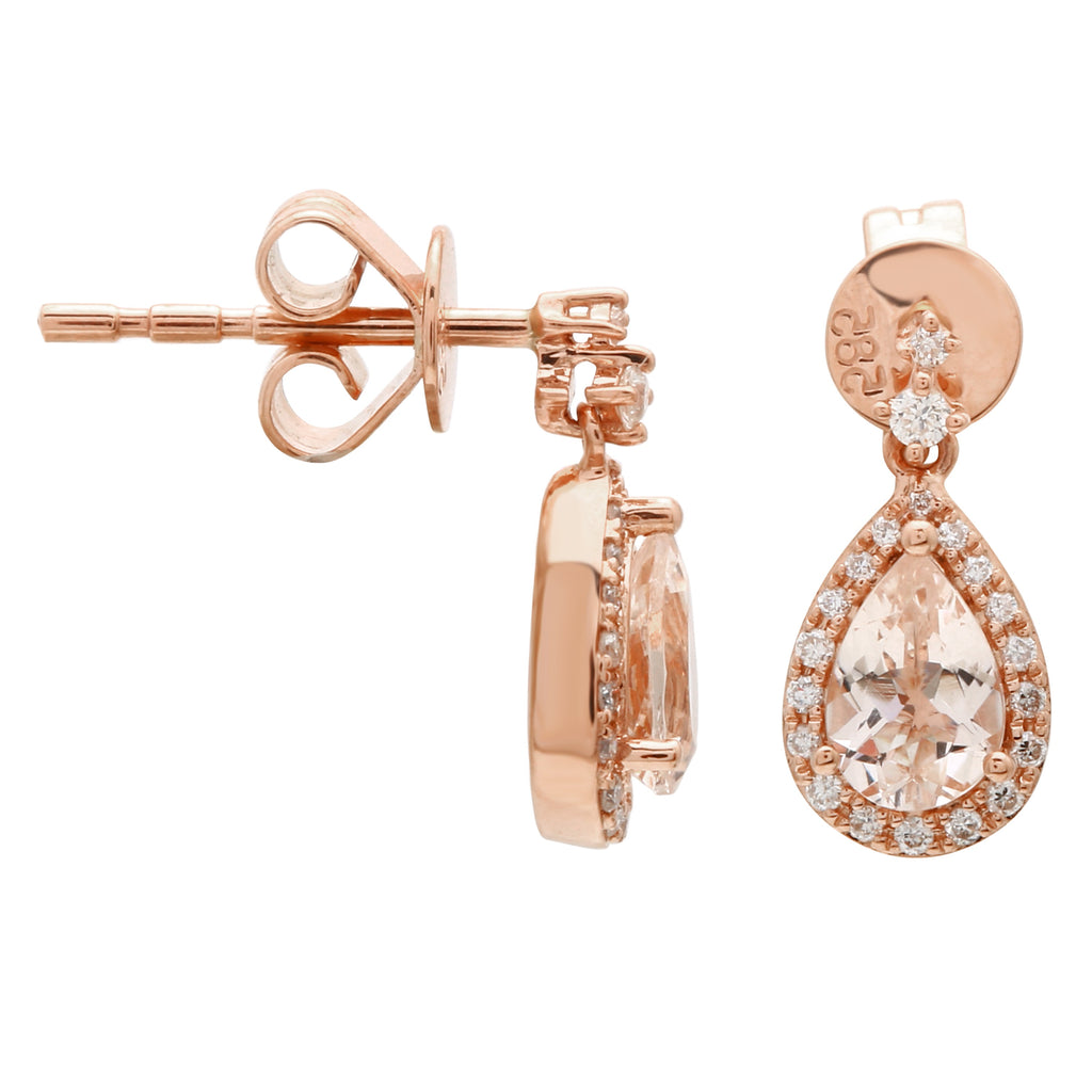 14k Rose Gold Diamond Morganite Pear Drop Stud Earrings (1/10 cttw, H Color, I2-I3 Clarity)
