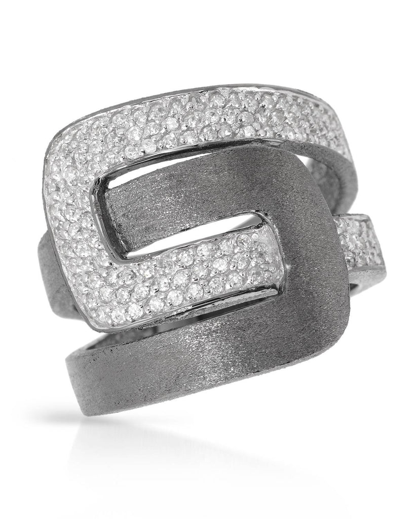 925 Cocktail Buckle Ring Silver CZ