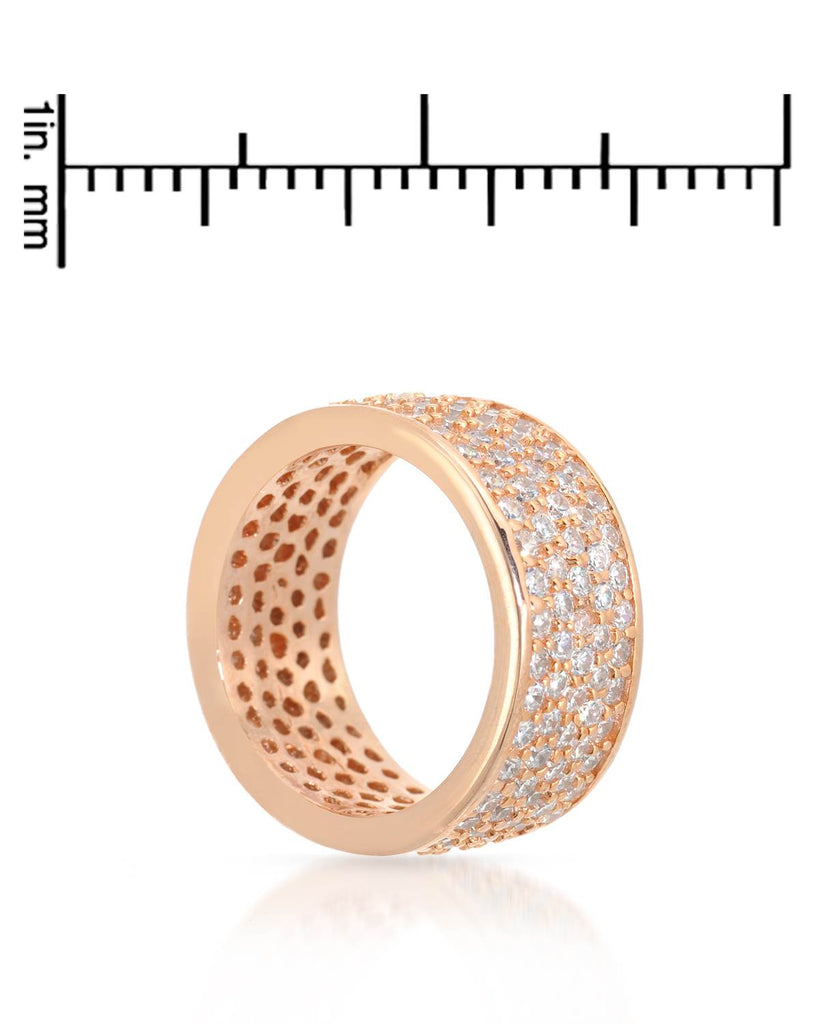 925 Cocktail Ring Band rose gold CZ