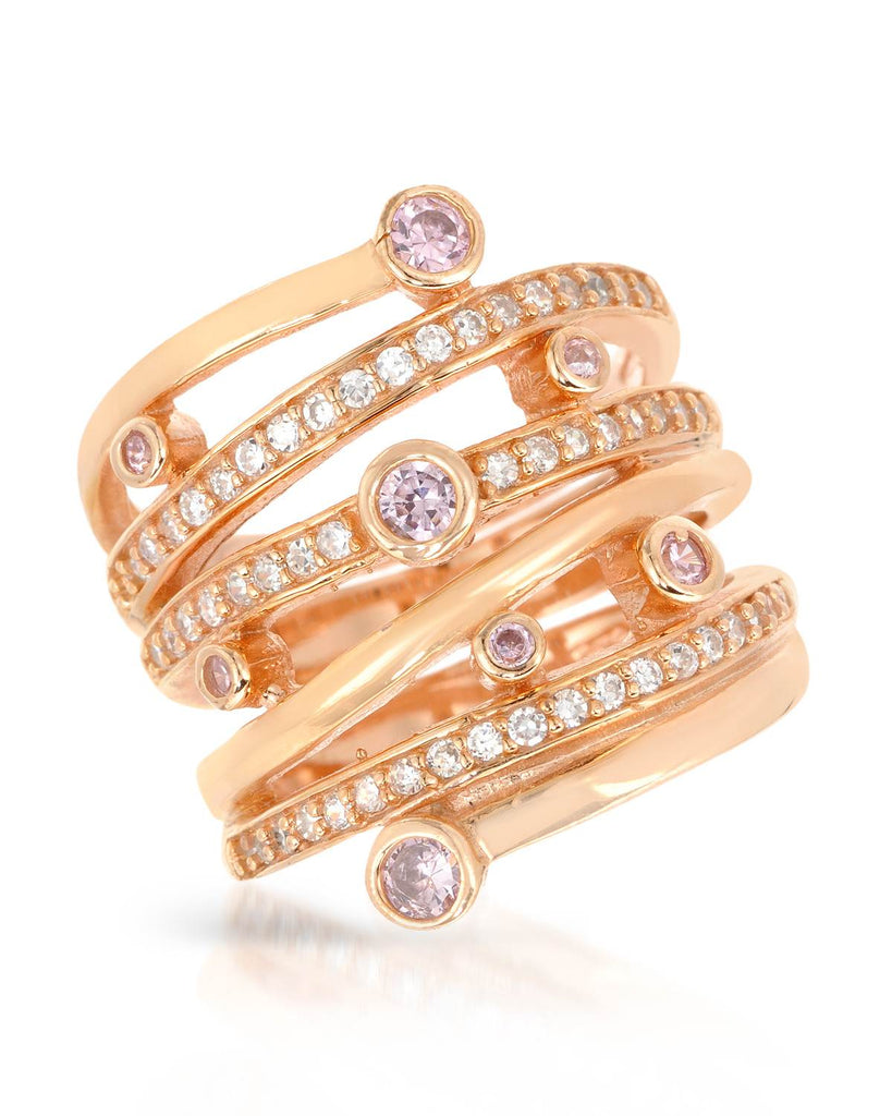 925 Cocktail Ring rose gold CZ