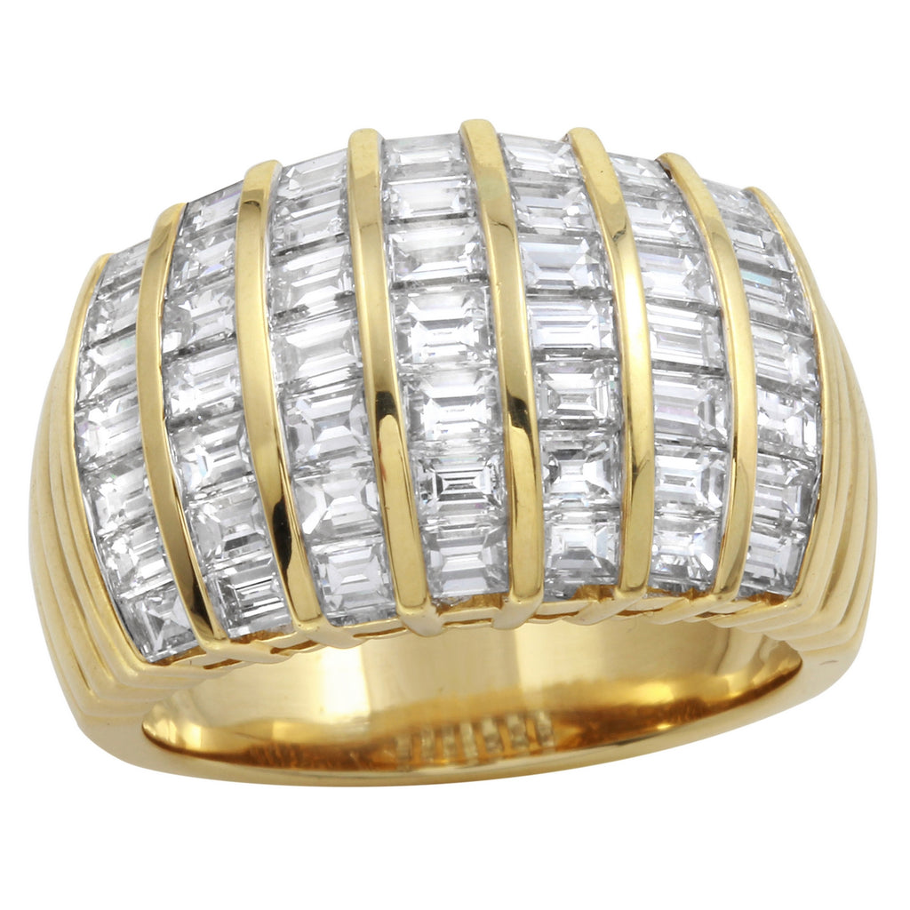 Women's 18k Yellow Gold Diamond Baguette Ring SIZE 6.5