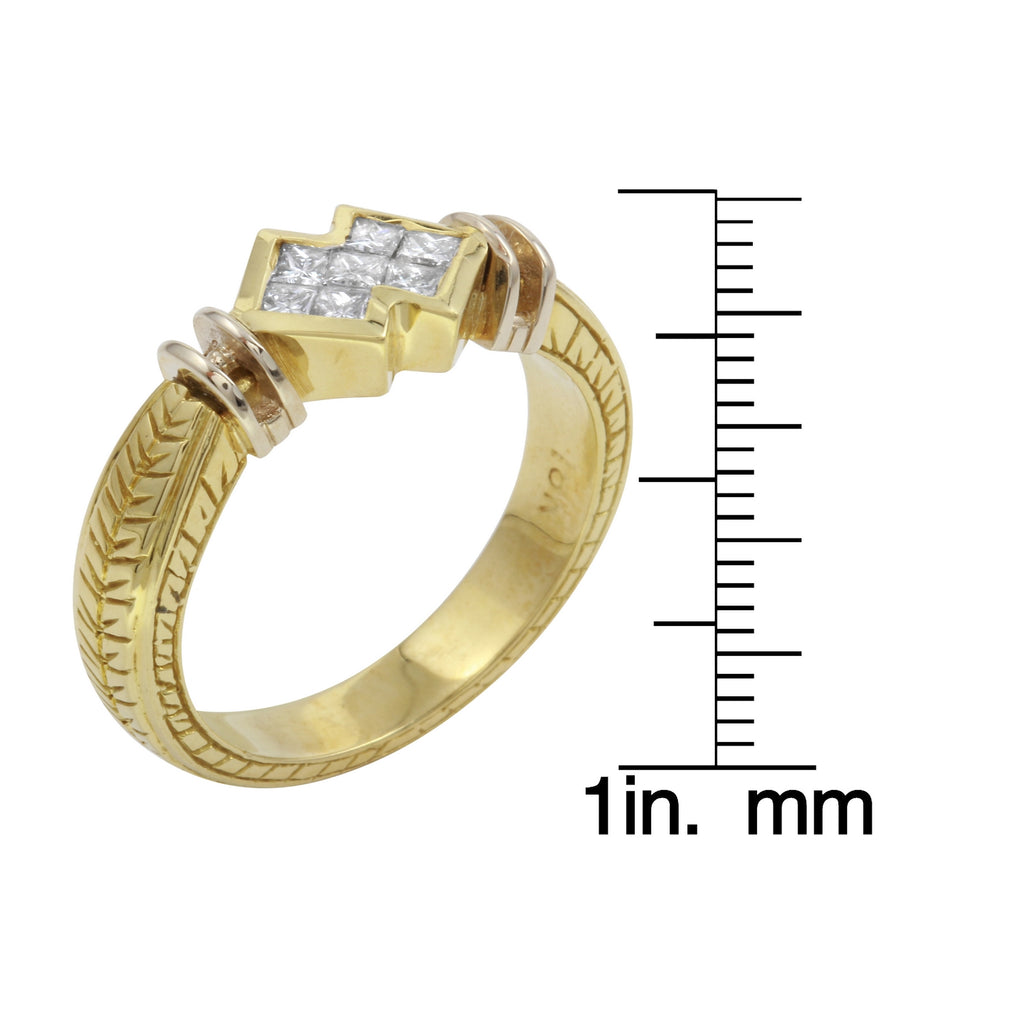 18k Yellow Gold Diamond Baguette Engagement Wedding Ring SIZE 6.25