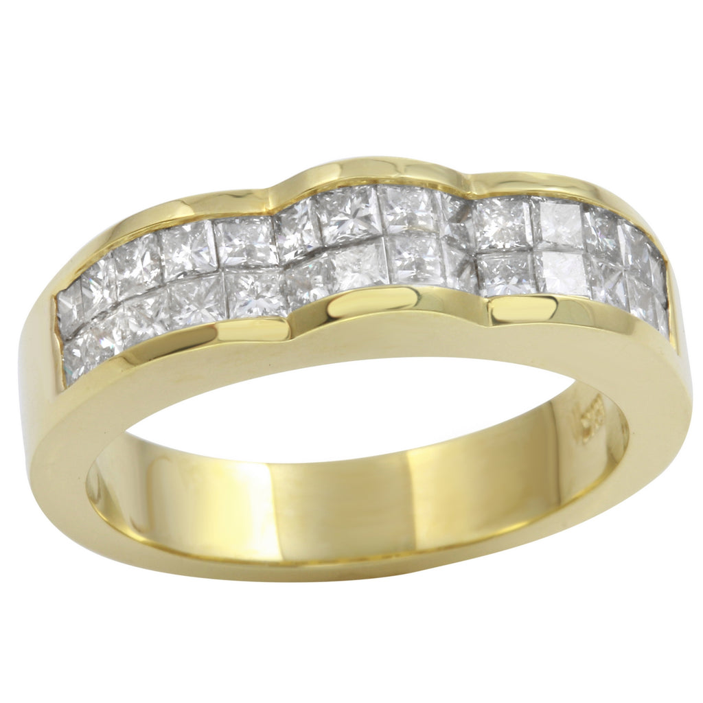 Women's 18k Yellow Gold Diamond Baguette Anniversary Wedding Ring SIZE 6.75