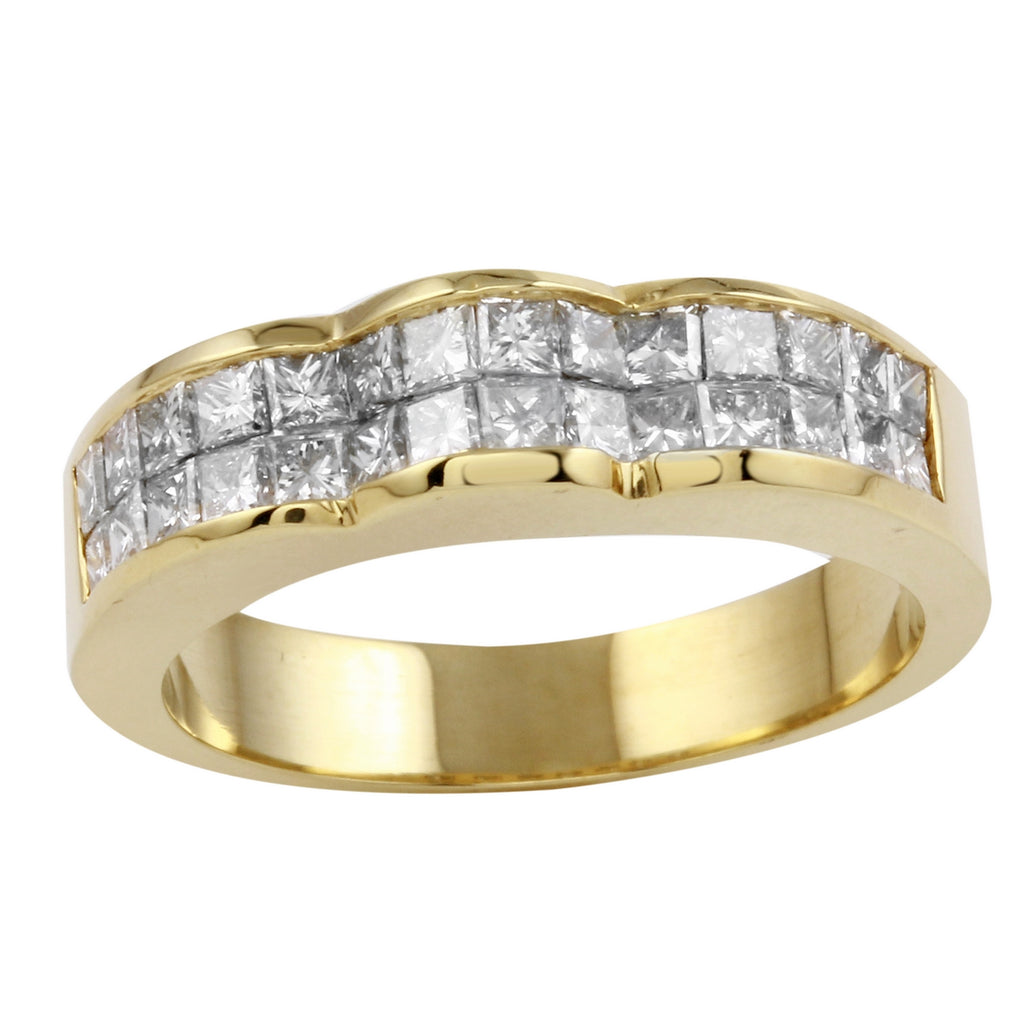 18k Yellow Gold Diamond Engagement Wedding Ring