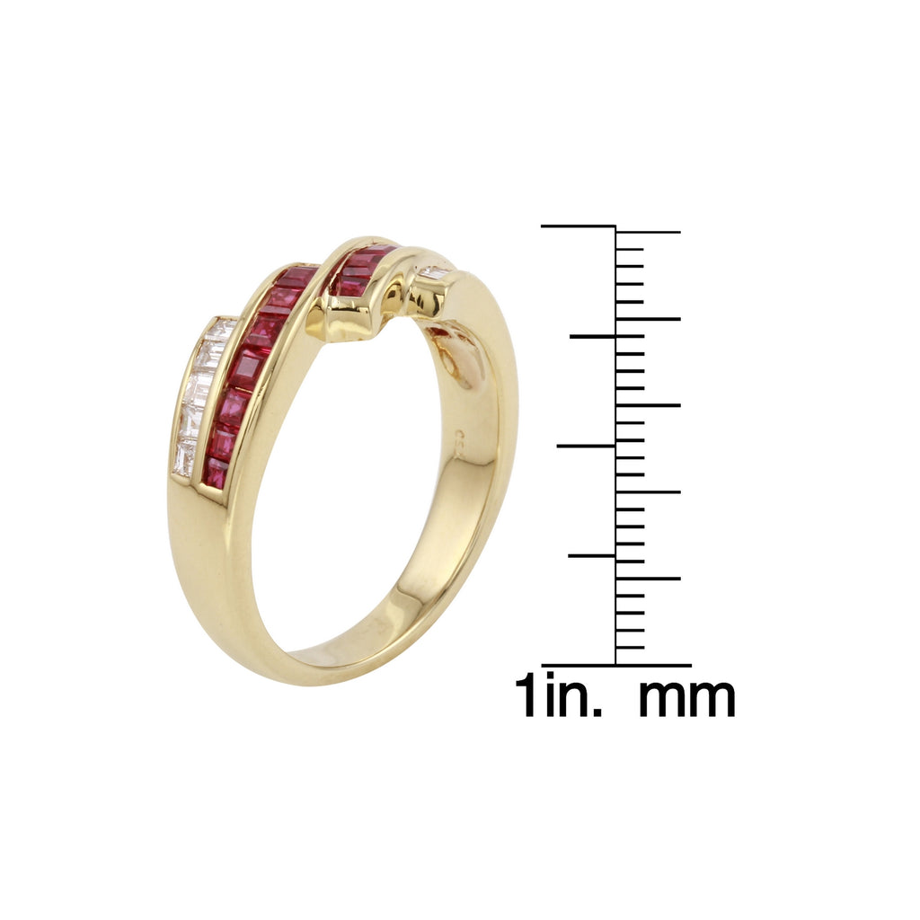 18k Yellow Gold Diamond Ruby Ring Size 6