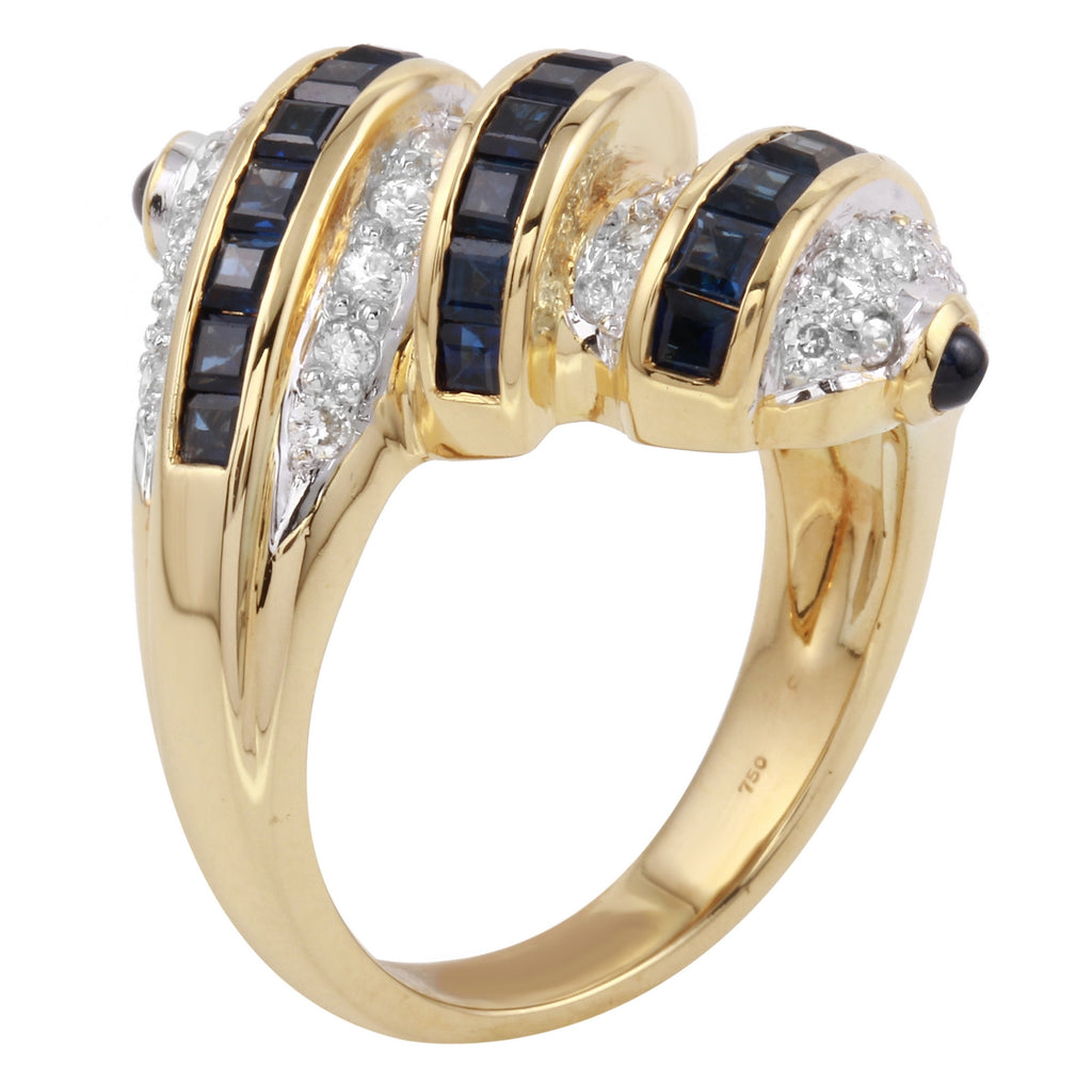 Women's 18k Yellow Gold Diamond Sapphire Ring SIZE 8