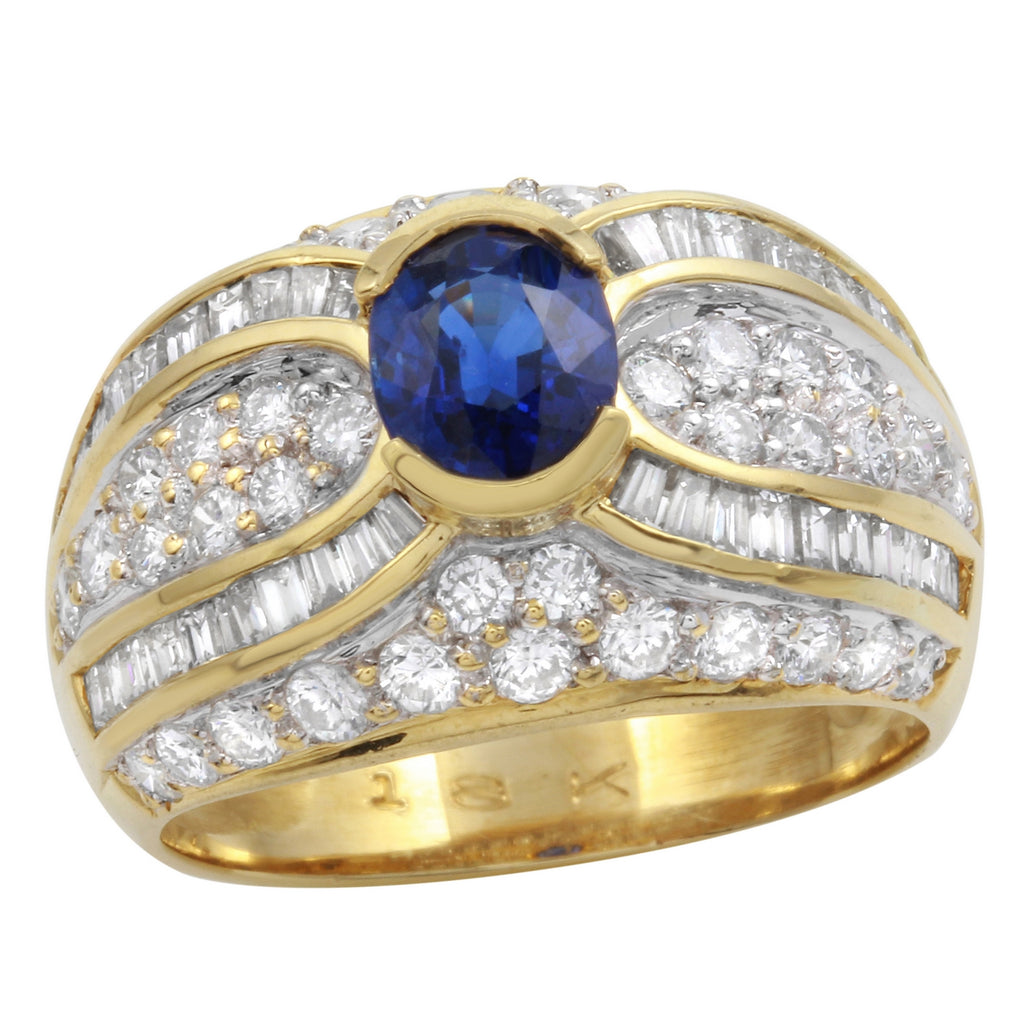 Women's 18k Yellow Gold Diamond Sapphire Wedding Ring SIZE 6.5