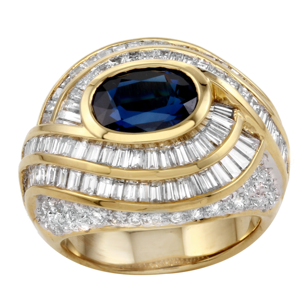 Women's 18k Yellow Gold Sapphire Diamonds Engagement Wedding Ring SIZE 6.5