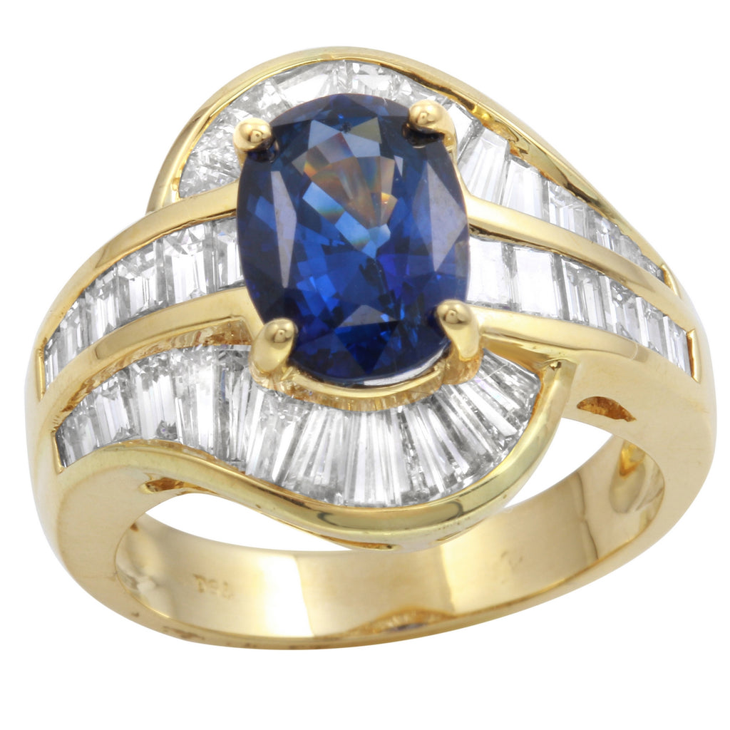 18k Yellow Gold Diamond Sapphire Engagement Wedding Ring