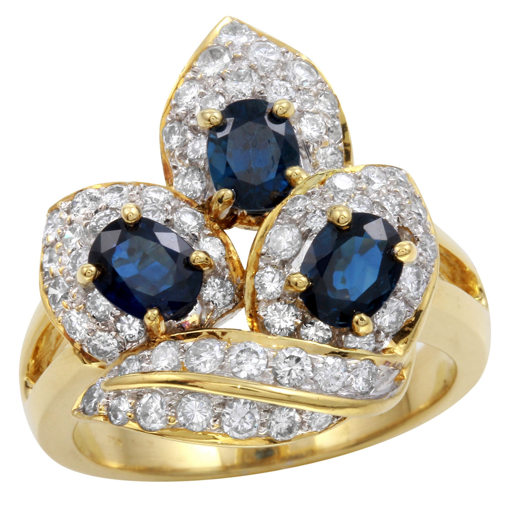 Women's 18k Yellow Gold Diamond Sapphire Ring SIZE 7