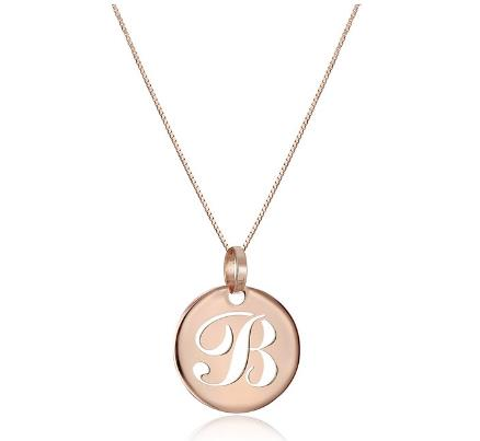 14k Rose Gold Italian Script Initial Pendant Necklace, A-Z
