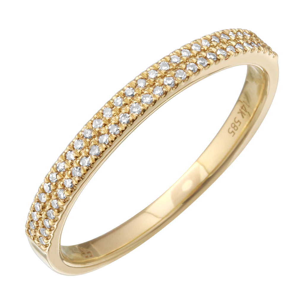 14k Yellow Gold Diamond Pave Ring (1/10 cttw, I-J Color, I2-I3 Clarity)