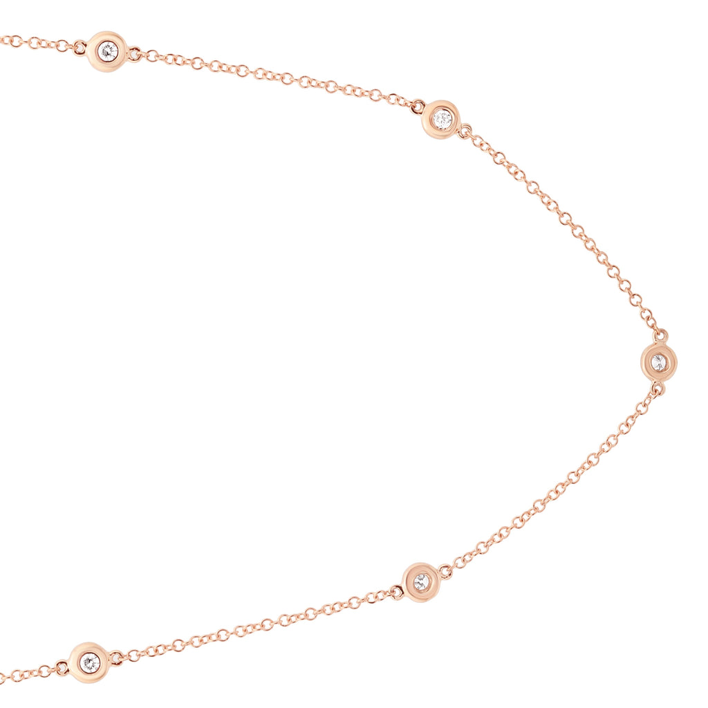 14k Rose Gold Diamond Bezel Station Charm Strand Necklace (1/3 cttw, J-K, S2-I1), 16+2""
