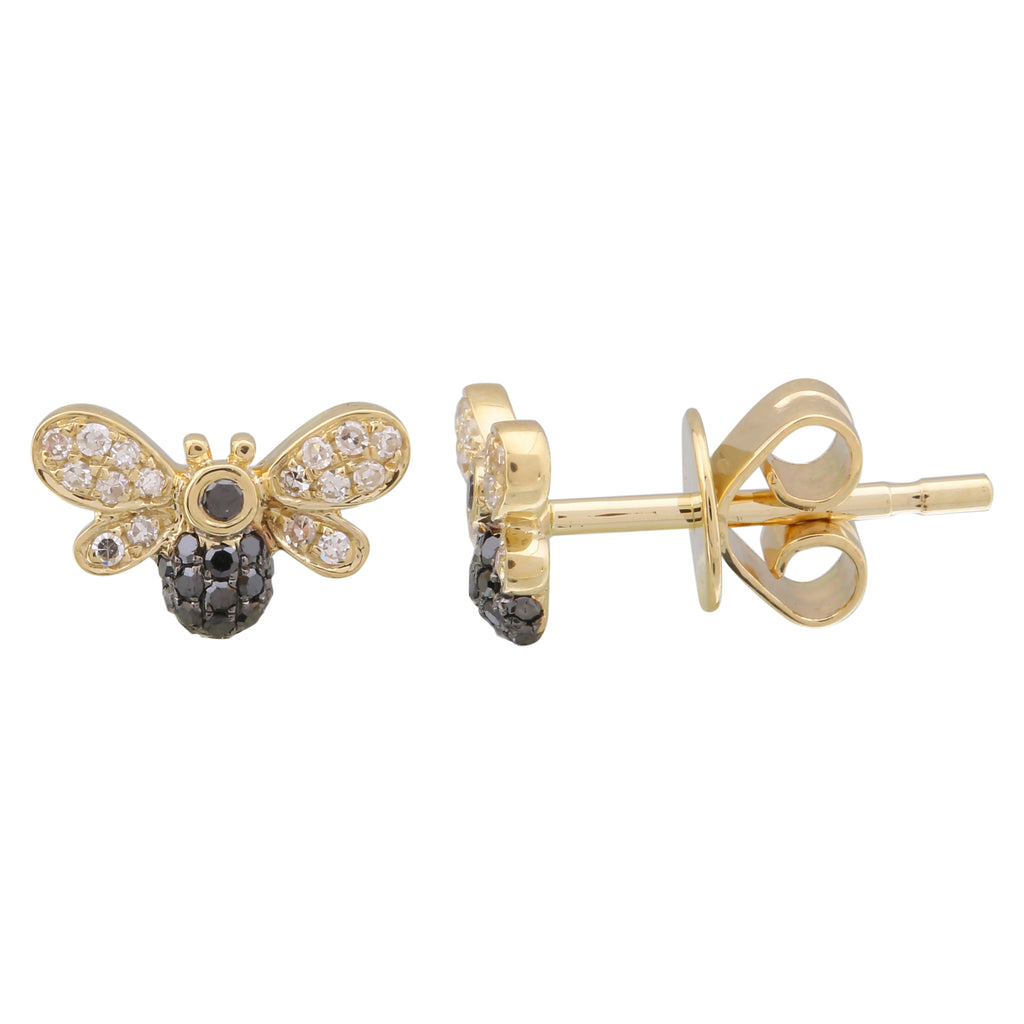 14k Yellow Gold White Black Diamond Floating Bee Stud Earrings (1/6 cttw, H-I Color, I1-I2 Clarity)