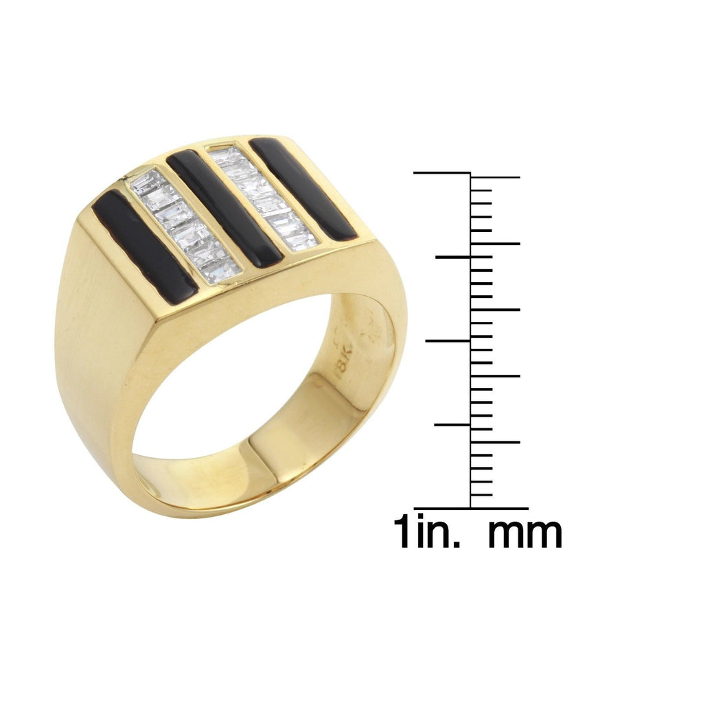Men's Diamond Black Onyx 18k Yellow Gold Ring