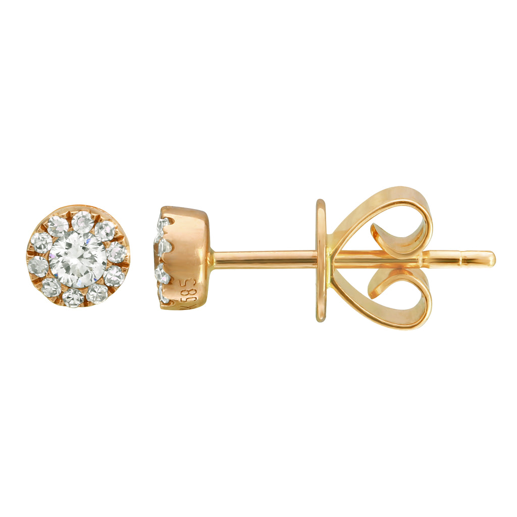 14k Yellow Gold Diamond Mini Halo Stud Earrings (1/6 cttw, H-I Color, I2-I3 Clarity)