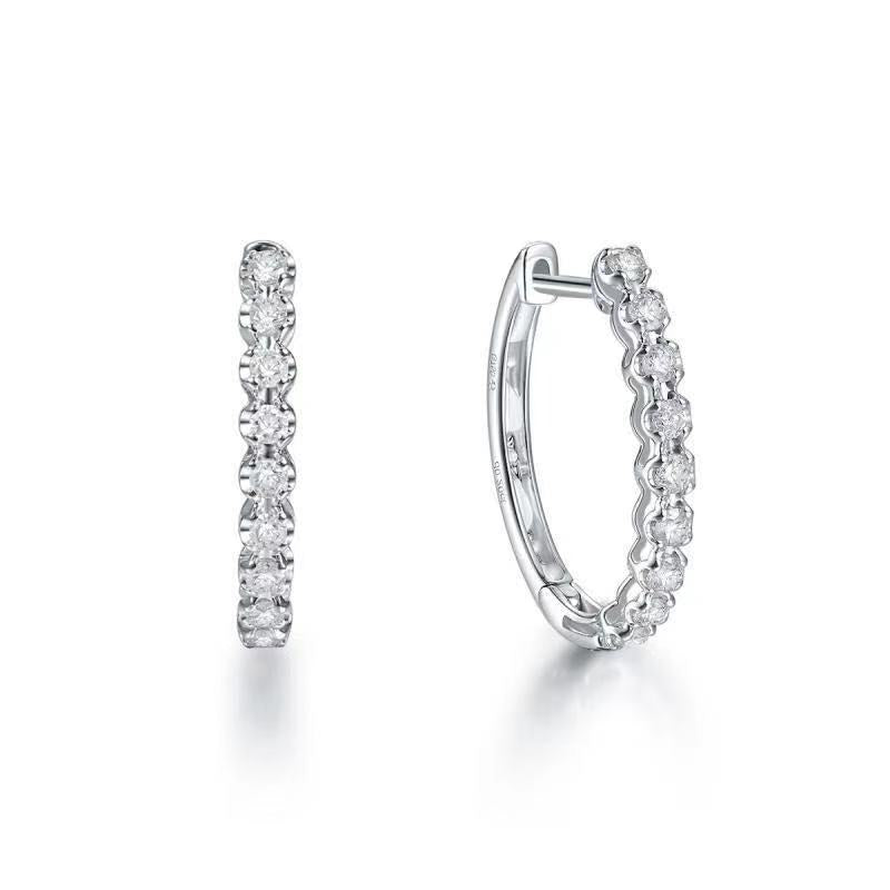REEMARK™ 18k White Gold Diamond Hoop Earrings (3/8 cttw, I-J Color, I1-I2 Clarity). 18mm Diameter