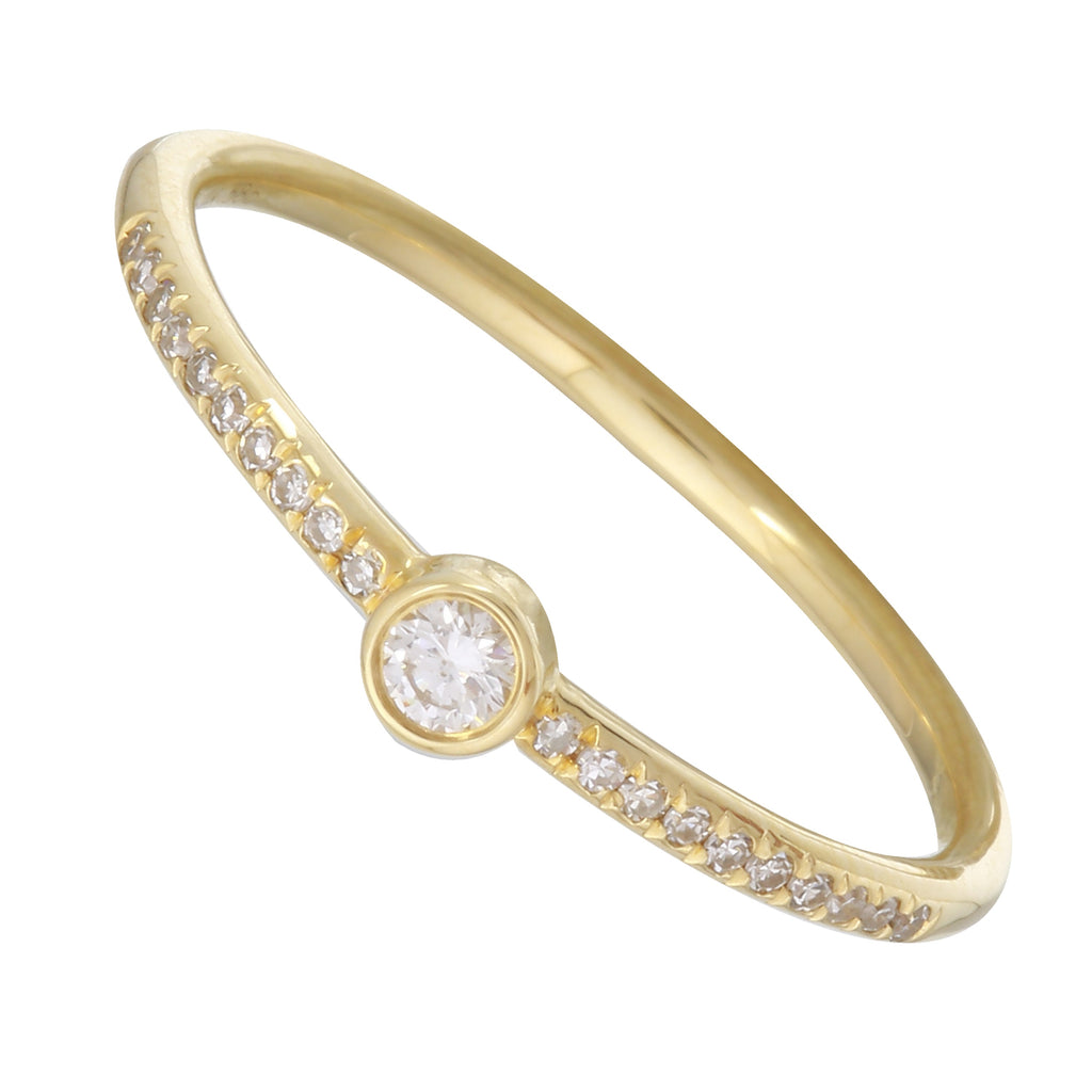 14k Yellow Gold Diamond Bezel Solitaire Pave Ring (1/10 cttw, I-J Color, I2-I3 Clarity)
